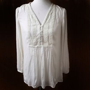 Lucky Brand White Boho Embroidered Blouse